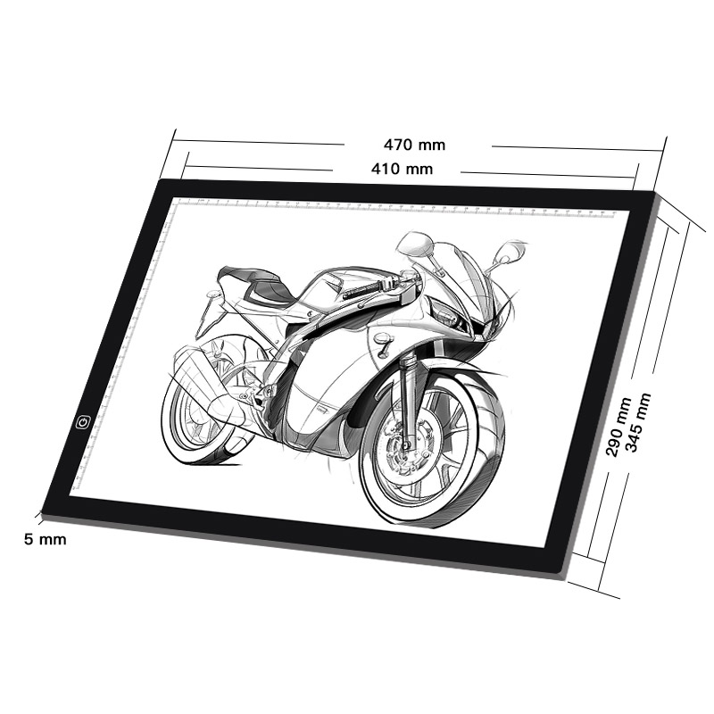 Easy copy board A3 big size led tracing board with scale light pad flicker free light drawing board 1 set
