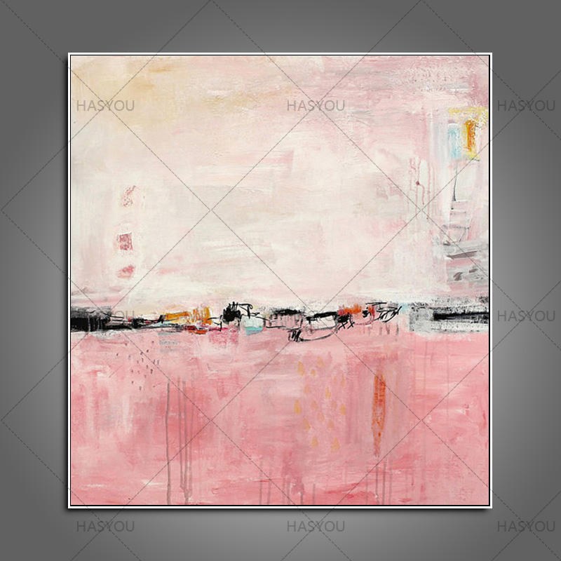 New Fashion Decorative Wall Abstract Art on Canvas Pink High Quality Art Hang Pictures unframed Wall Stickers in Painting Calligraphy from Home Garden