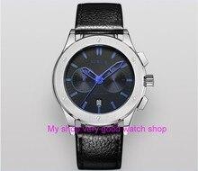 43mm PARNIS Japanese quartz movement men's watch Auto Date Multi-function Chronograph quartz watches 5Bar