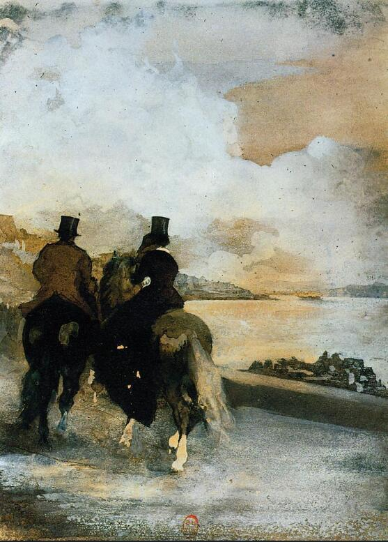 High quality Oil painting Canvas Reproductions Two Riders by a Lake (1861)  By Edgar Degas hand paintedHigh quality Oil painting Canvas Reproductions Two Riders by a Lake (1861)  By Edgar Degas hand painted
