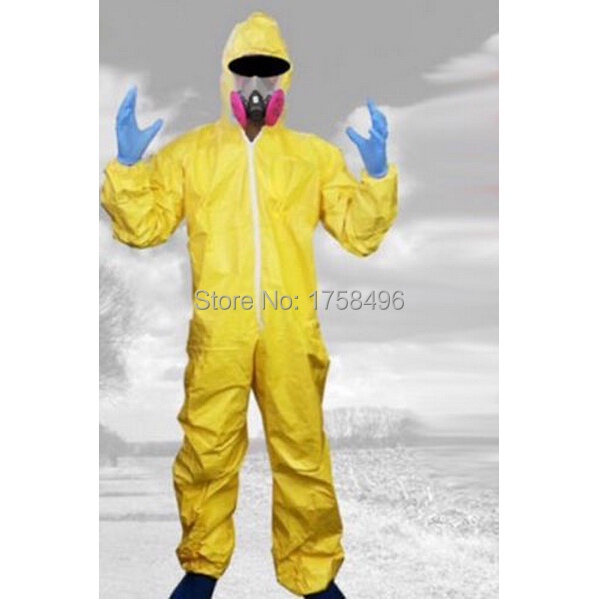 Breaking Bad Hazmat Lab Walter Yellow Jumpsuit Halloween Cosplay Costume with Half Mask Gloves Wholesale