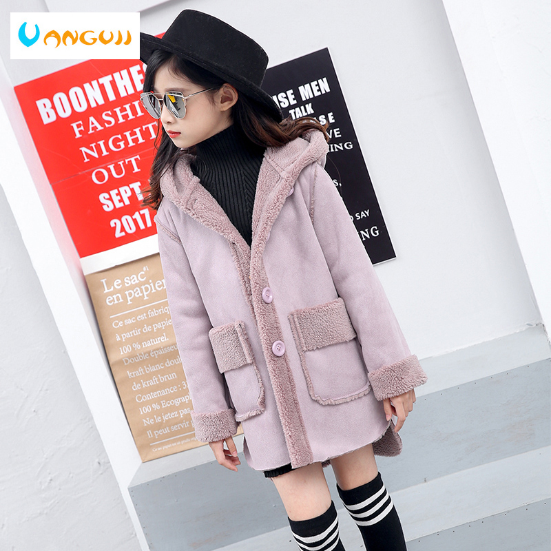 girls coat winter 4-11 years children's thicken long trench big children kids windbreaker Suede Compound Lamb Wool Hooded top quality long sleeved fashion classic coat embroidery hooded suede long trench coat s xl free shipping lady winter over coat