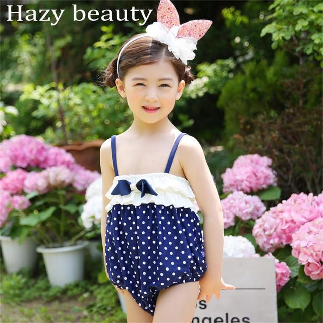 e8e86fbd31042 Children's swimsuit Factory direct supply blue wave point Siamese swimsuit  hot wave dots hot spring clothing with swimming cap