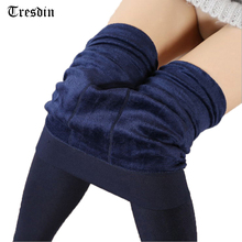 Tresdin Women's Clothing Candy Colors Women Pants Plus Velvet Thick Warm Leggings For Winter Ladies Super Elastic Women Leggings(China)