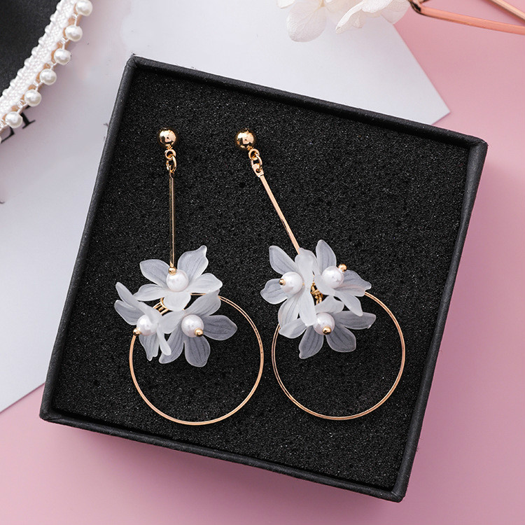 Ethnic Plant Women Dangle Earrings Small Fresh Acrylic Flower Pole Long Earrings For Women Drops Earrings 3