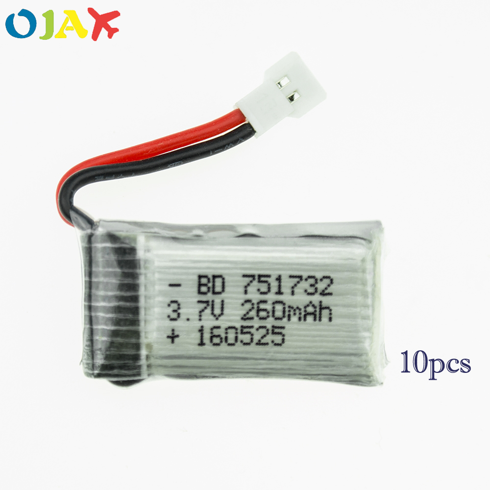 10pcs 3.7V 260mAh Drone Lipo Battery 751732 +X6 USB Charger set For RC JJRC H8 Mini Eachine H8 JJRC H22 RC Quadcopter Parts 10pcs mini usb tp4056 5v 1a lipo battery charging board charger module lithium battery mini usb port adapter for 18650 charger
