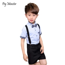 Kids sets voor jongens Verjaardag Jurk Uniform 3 stks Strikje + T Shirt + Overalls Gentleman Baby Jongens Pak Kinderen kostuum Kleding F40