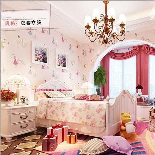 Qz 06 Cartoon Paris Girl Children S Room Wallpaper Princess Bedroom