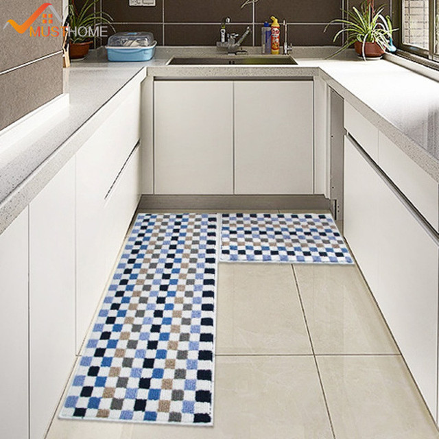 45 120cm High Quality Plaid Kitchen Rugs Washable Non Slip Mats Waterproof