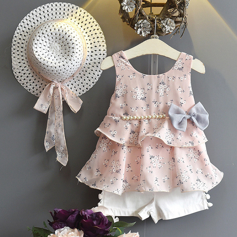 Girl Clothes Summer Fashion Floral Chiffon Pearl Bow Dress+White Shorts+Hat 3PCS/set Suit Girls Clothes Set For Kids Clothing