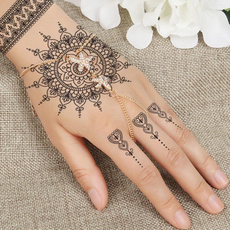 De mest populära Svart Henna Tatueringar Tillfälligt Inspirerade - Tatuering och kroppskonst - Foto 5