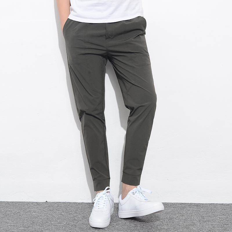 Men Pants Male Trousers Slim-Fit Stretch Ankle-Length Summer Elastic Casual New Man Solid