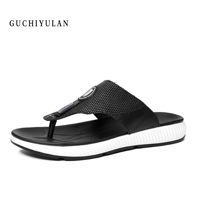 100% Genuine Leather Mens sandals New Famous Brand Casual Men sandals Slippers Summer Shoes Beach flip flops chinelo masculi