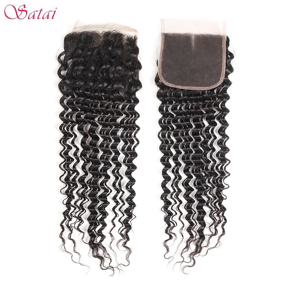 Satai Hair 4x4 Lace Closure Deep Wave 100% Human Hair 10-20 inch Natural Color Remy Hair Extension 1 Piece Only Free Shipping