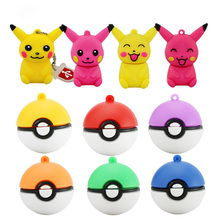 wholesale mini pen drive Pokemon Pikachu gift pen drive 8gb 16gb 32gb 64gb keychain cartoon Pokeball