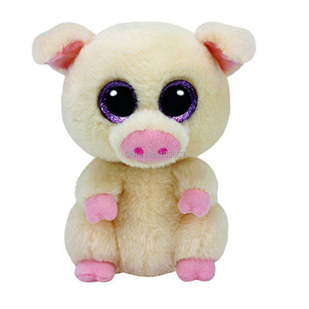 6 15 cm Ty Beanie Boos Big Eyes Piggley Pig Baby Plush Stuffed Doll Toy Soft Collectible Soft Big Eyes Toys gonlei ty beanie boos yellow penguin 6inch big eyes beanie baby plush stuffed doll toy collectible soft plush toys kids gift