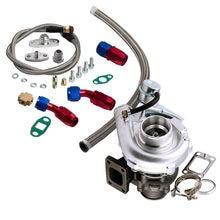 Para híbrido t3 t4 t03 t04 turbo v-band 2.0l-3.5l motor turbocompressor linha de óleo kit para nissan safari patrulha 4.2l td42 td42t1 gu gq