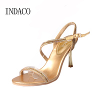 2017 Women S Sexy Gold Silver Wedding Shoes Fashion Rhinestone Ankle Strap Sandals Luxury Party Sandals