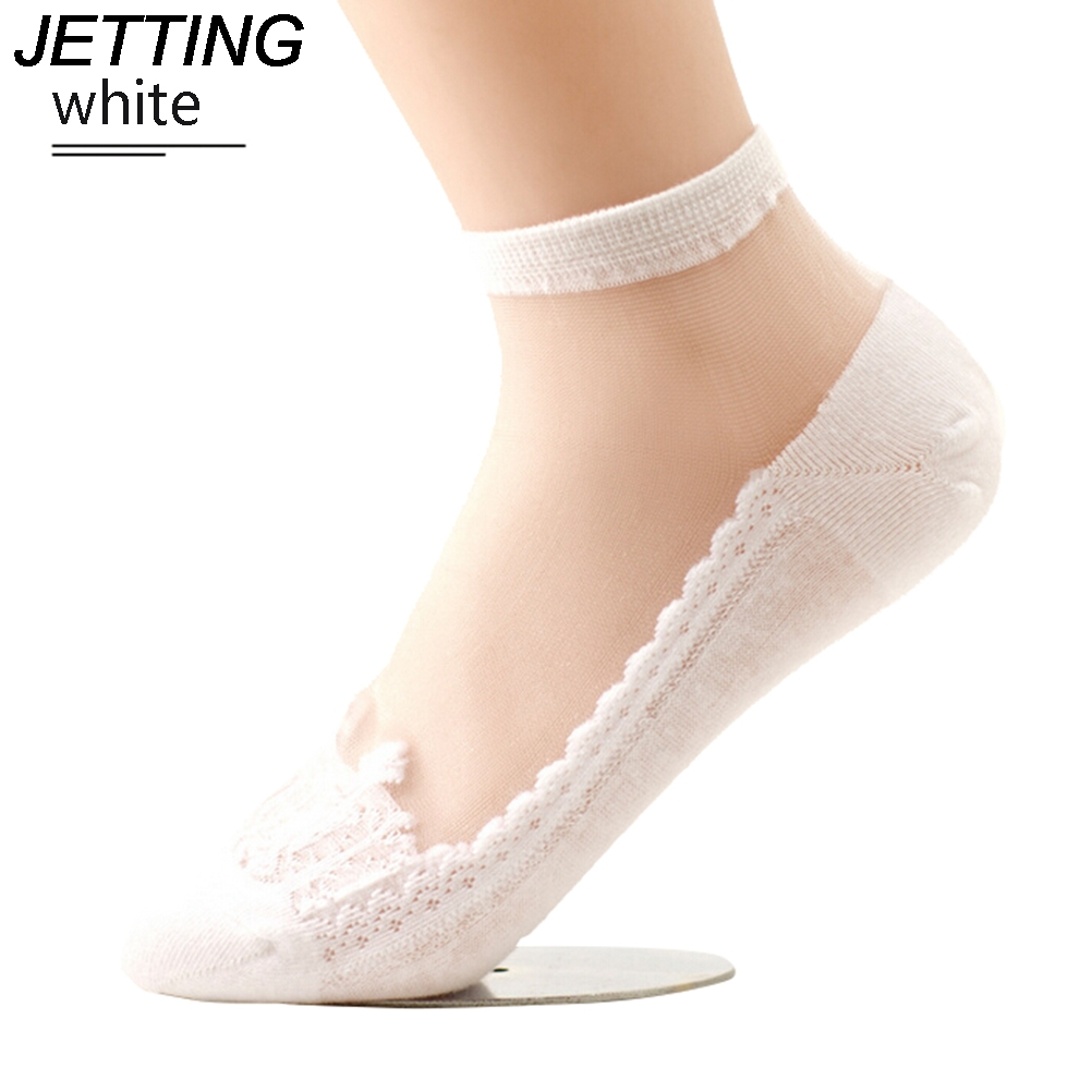 2017 1 Pair Women Ultra-thin Transparent Beautiful Crystal Lace Elastic Socks Thin Section Casual Style Patchwork Sock