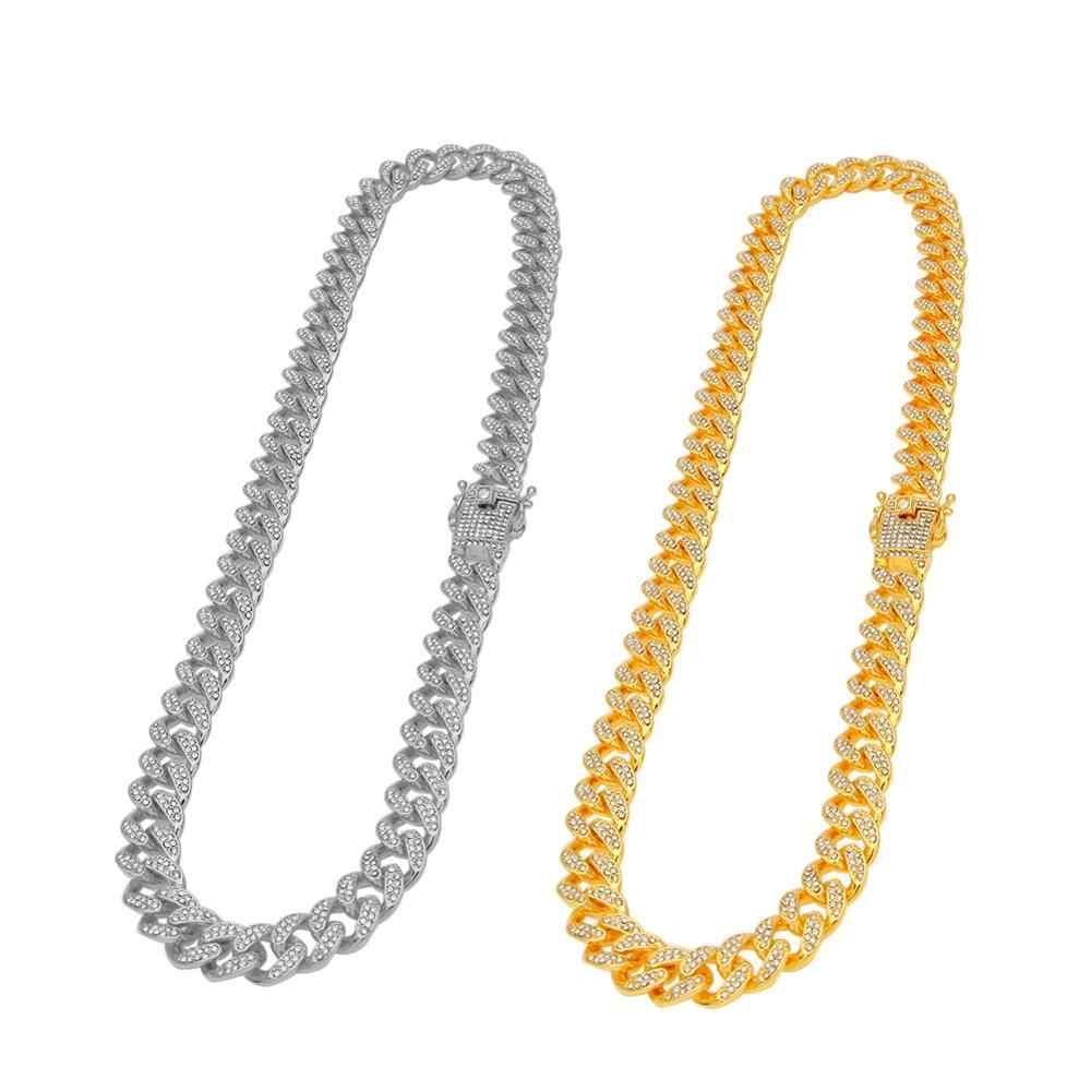 13mm mrożona z Miami kubański łańcuch naszyjniki Hip hop biżuteria złoto srebro Rhinestone zapięcie dla mężczyzn złoty wykończenie Bling naszyjnik Link