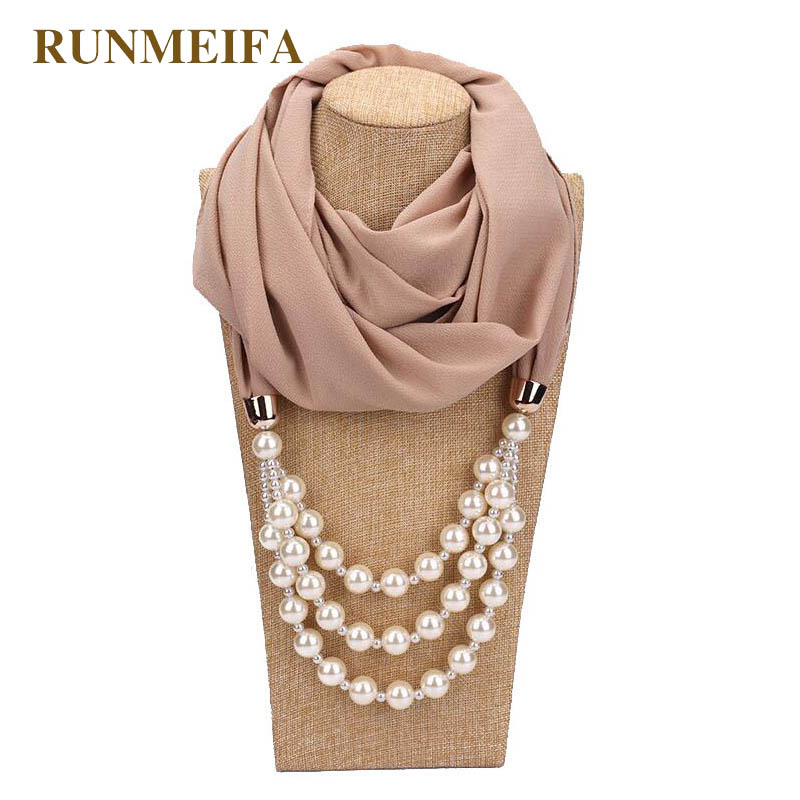 2018New Design pearl jewelry necklace scarf for ladies Jewelry scarf Pure color satement jewelry Pendant necklace scarf in stock stylish solid color lightweight pleated scarf for women