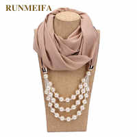 2019 New Design Solid pearl jewelry necklace Women scarf for ladies Jewelry scarf Pure color satement Foulard Femme Hijab Stores