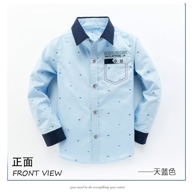 In the spring of 2017 new boys long sleeved printed shirt 95% cotton Korean tide children's clothing turn-down collar shirts 2016 new children s clothing boys long sleeved t shirt large child bottoming shirt spring striped shirt tide