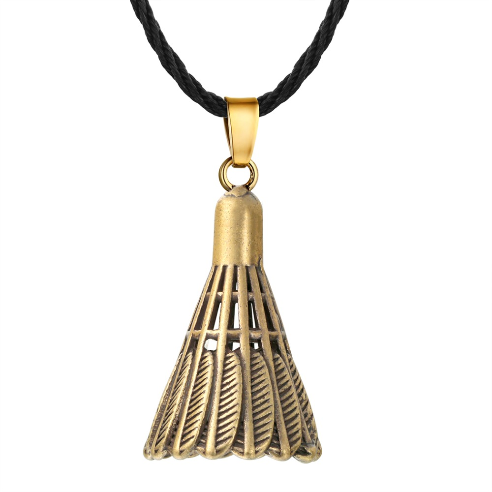 QIAMNI Punk Badminton Shuttlecock Pendant Necklace Fitness Bodybuilding Leather Rope Collar Jewelry Men Women Party Gift
