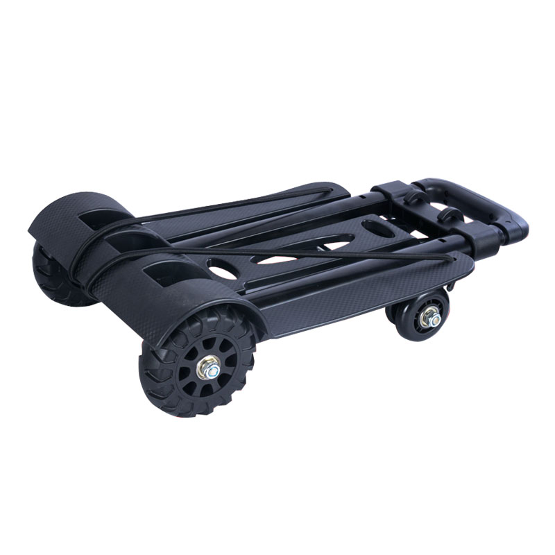 Household Portable Fold Shopping Cart 4 Wheels Mini Travel Luggage Trolley Cart Foldable Small Pull Cart