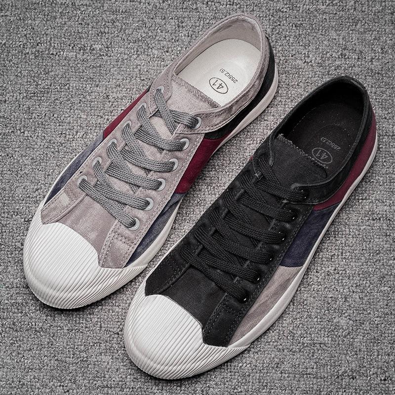 2019 New Men's Canvas Vulcanized Shoes Mixed Color Fashion Men's Leisure Shoes Spring/Autumn Patchwork Cloth Men Sneakers Shoes 3