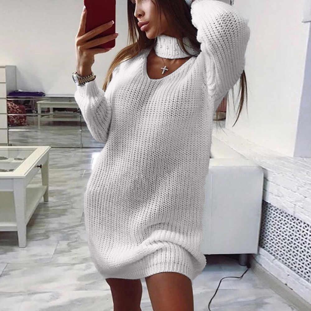 Frauen Damen Langarm Chunky Gestrickte Kleid Rolle Neck Jumper Kleid Mini Kleid frauen Pullover Langarm V-ausschnitt Bib kleid
