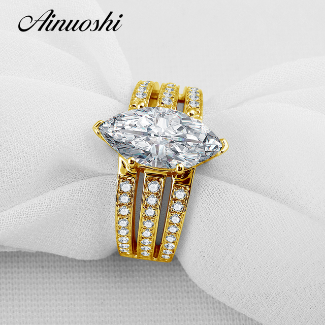 AINUOSHI 10K Yellow Gold Wedding Ring 3 ct Marquise Cut Simulated Diamond Jewellery 3 Rows Drill Women Engagement Gold Rings