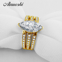 3 Ct Marquise Cut Sona Simulated Diamond Ring 100 Solid 10K Yellow Gold 3 Rows Drill