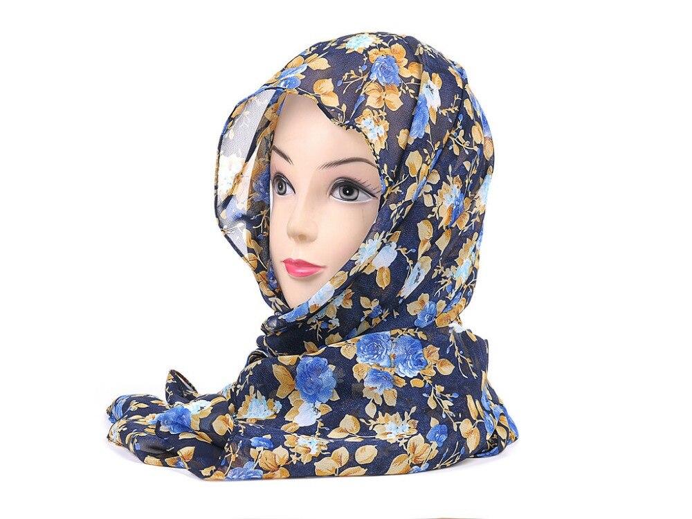 New Arrival Elegant Soft Chiffon Women Maxi Pashmina Shawl Wrap Hijab Muslim Floral Scarves High