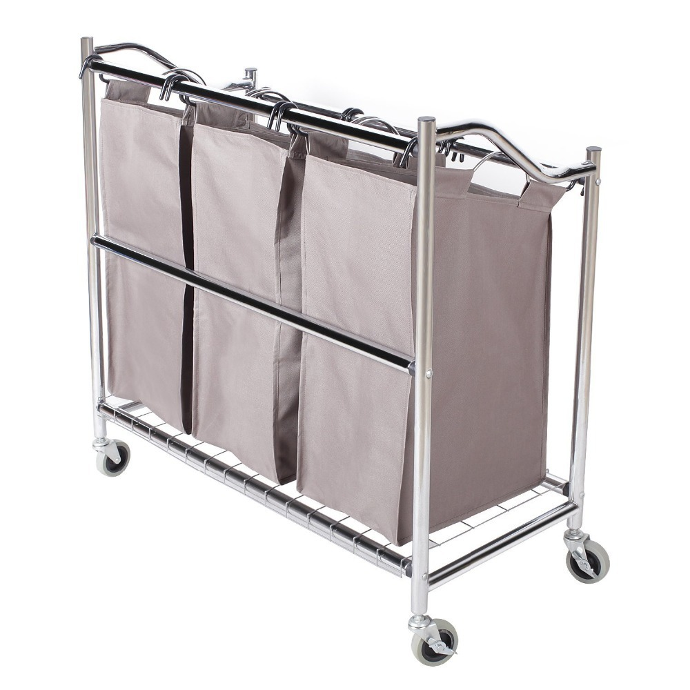 buy 3 section heavy duty laundry hamper sorter superior steel rolling laundry cart with coating frame from reliable laundry