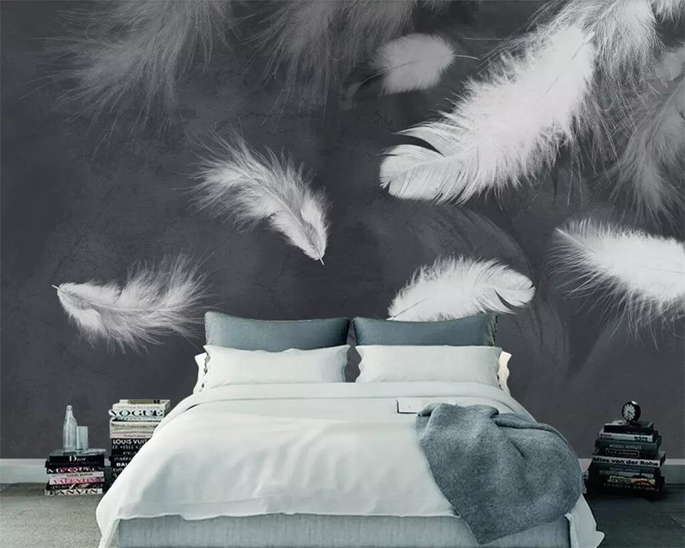 Beibehang Black And White Mural 3d Wallpaper Modern Minimalist White Feather TV Sofa Background Living Room Bedroom Wallpaper
