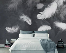 beibehang Black and white mural 3d wallpaper modern minimalist feather TV sofa background living room bedroom