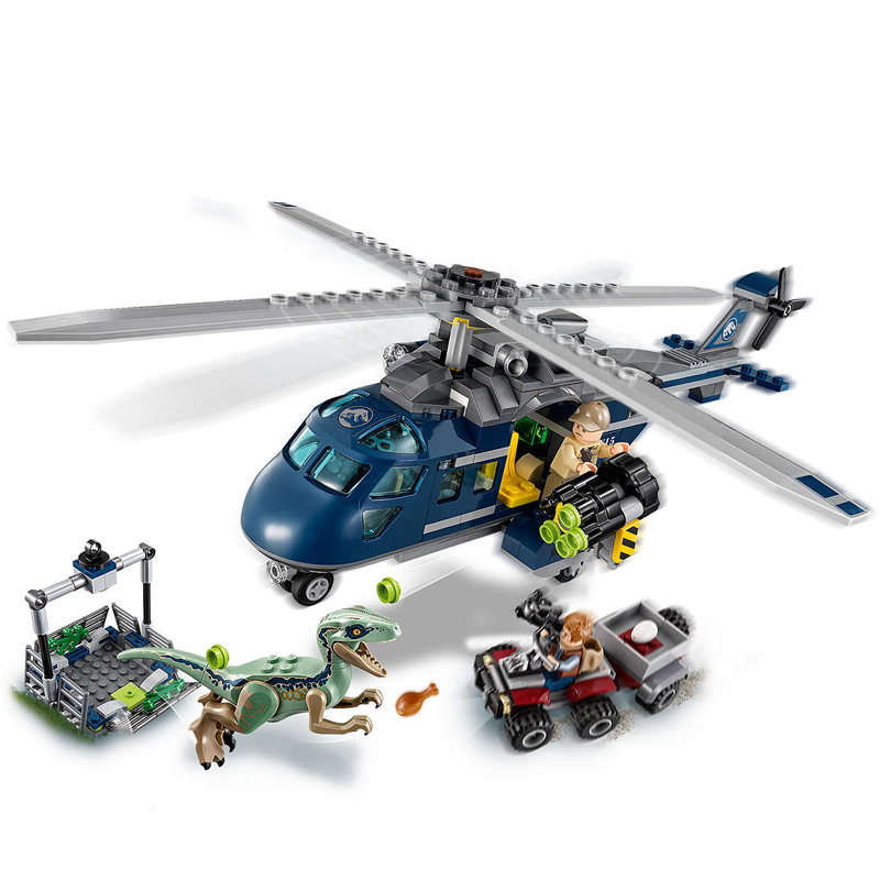 2018 New legoing 75928 415pcs Jurassic World Blue's Helicopter Pursuit Chase Model Building Block Toys For Children CGP22