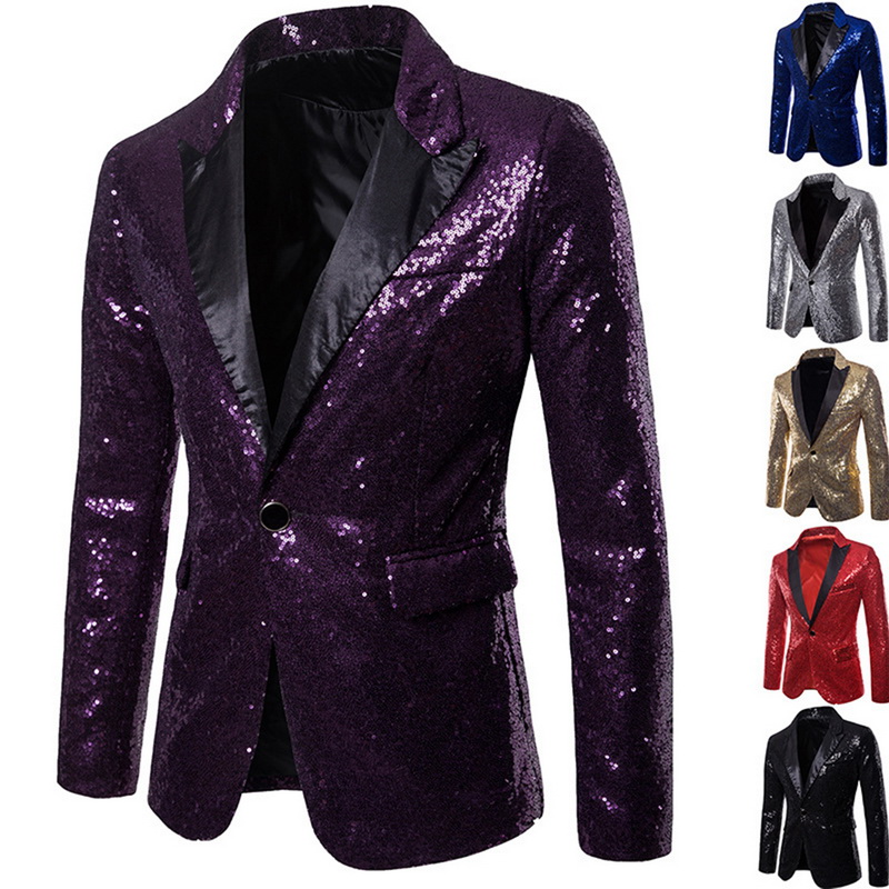 Oeak Shiny Gold Sequin Glitter Embellished Men Nightclub Blazer Weeding Party