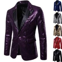 Hot Men Shiny Gold Sequin Glitter Embellished Blazer Jacket
