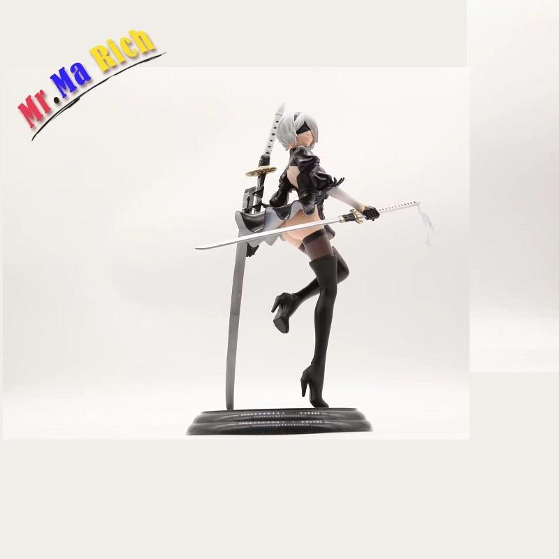Nouveau Japon Figurine d'anime Jeu Nier: automates 2b Yorha No 2 Type B Noir Robe Épée Ver Pvc 25 cm Modèle Sexy Décoration Poupée