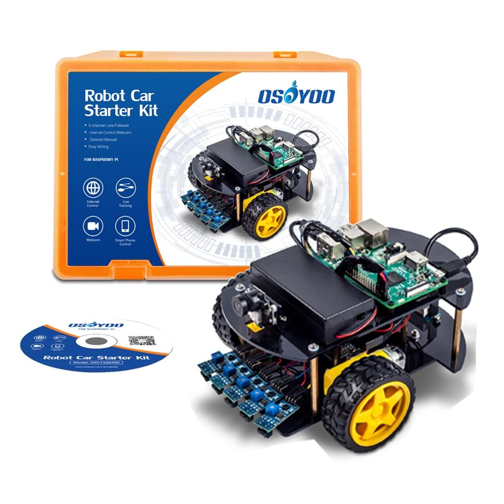 Kit voiture Robot OSOYOO Kit d'apprentissage voiture intelligente pour Raspberry Pi 3, B + Android IOS APP WiFi sans fil (n'inclut pas la carte Raspberry P3)