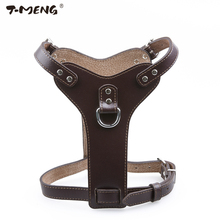T-MENG Brand Pet Products Genuine Leather Dog Harness For Small Medium Large Pets Professional K9 Collar Hand Chest Straps M