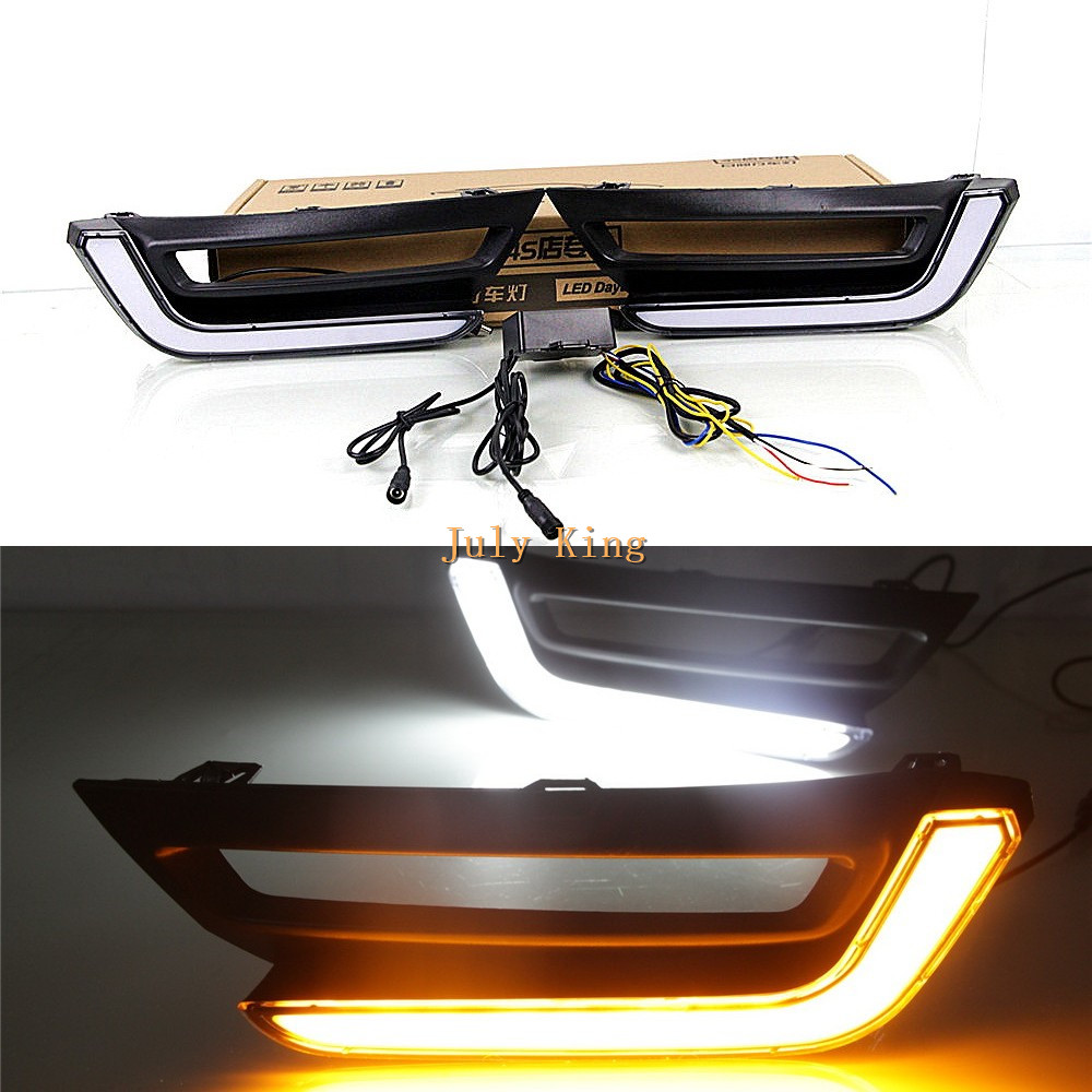 July King LED Light Guide Daytime Running Lights Case For Honda CRV CR-V 2017+ High DRL Version, LED DRL + Yellow Turn Signals july king led daytime running lights drl case for honda crv cr v 2015 2016 led front bumper drl 1 1 replacement