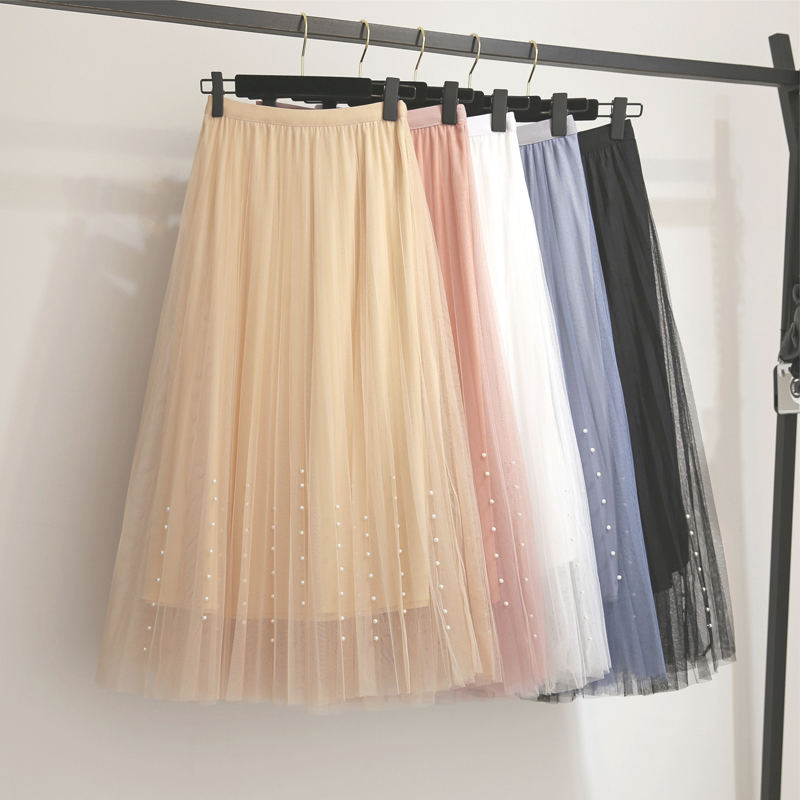 New 2019 Spring Summer Skirts Womens Beading Mesh Tulle Skirt Women Elastic High Waist A Line Mid Calf Midi Long Pleated Skirt 1