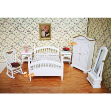 1:12 Wooden Dollhouse Miniature Furniture toy dolls white simulation bed bedroom sets pretend play toys for kids girls gifts цена и фото