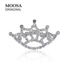 MOOSA Original Crystal Crown Broch Fashion Rhinestone Jewelry Women Wedding Hijab Pins and Brooches Handmade