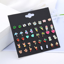 New Animal Insect Combination Set Ear For Wowens Girls Childs Nail Ladybug Fruit Flower Fashion 20 Pairs Of Earrings