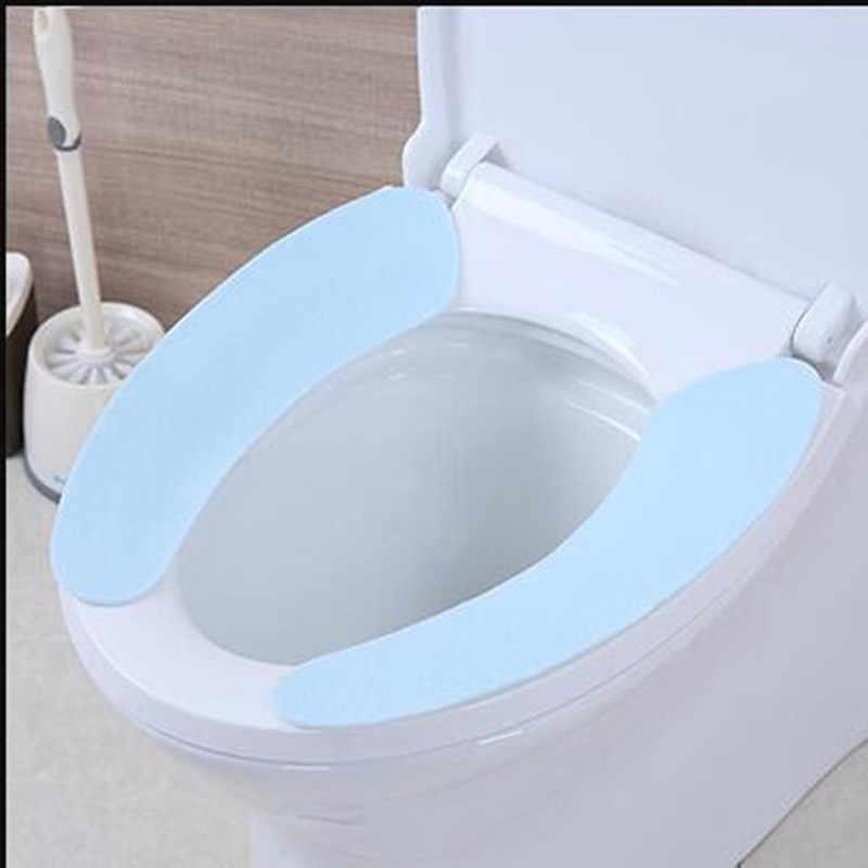 1 para Travel Hotel lepka mata toaletowa Super miękka wielokrotnego użytku flanelowa cieplejsza mata pokrywa Pad poduszka łazienka zestaw pokrowiec na deskę sedesową