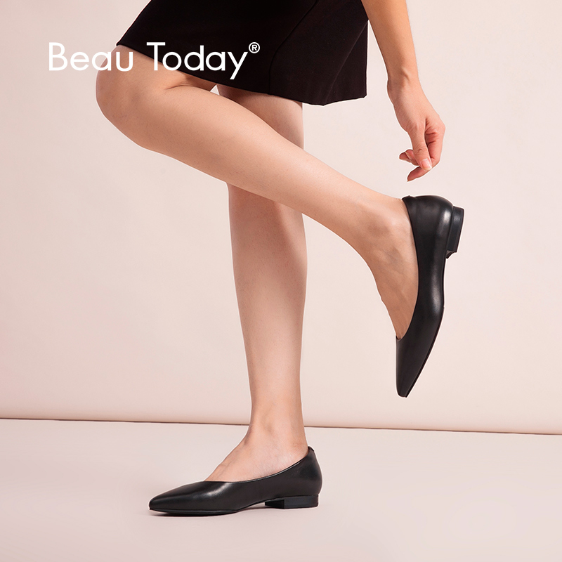 BeauToday Women Ballet Flats Calfskin Genuine Leather Work Shoes Pointed Toe Shallow Office Ladies Handmade 15039